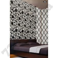 Интерьер Velluti Загадочный чёрно-белый в лиственном принте