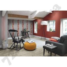 Интерьер Seduction обои для гостиной  вьющиеся растения и волнистые линии в серо-орнжевых тоннах