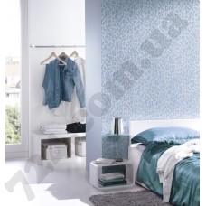 Интерьер Sceno Бирюзовые обои Sceno для спальни
