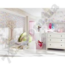 Интерьер Bambino 2013 обои для детской комнаты забавные жирафы и слоны в технике лоскутного одеяла или большое дерево в формате в светло- розовых оттенках