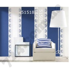 Интерьер Panels Обои Marburg для гостинной Синие и белые винтаж