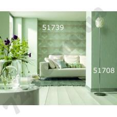 Интерьер At home Обои At home для залы Зеленые с узором из треугольников 51739 51708