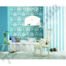 Интерьер Scandinavian Vintage Обои Scandinavian Vintage для гостиной Голубые белая полоска 51652 51609