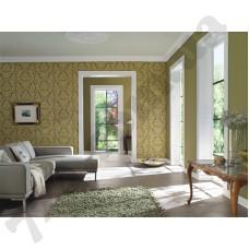 Интерьер Trianon 2015 Зеленые обои Trianon 2015 с бежевым рисунком для зала