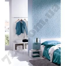 Интерьер Sceno Бирюзово-голубые обои Sceno для спальни