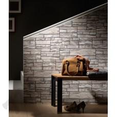 Интерьер Brix Светло-серые обои Brix для коридора в виде кирпичной кладки