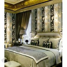 Интерьер Roberto Cavalli обои Emiliana Parati ROBERTO CAVALLI артикул 12013 в интрьере спальной комнаты в бежево-золотых тонах