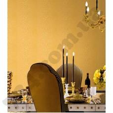 Интерьер Roberto Cavalli обои Emiliana Parati ROBERTO CAVALLI артикул 12022 в интрьере столовой комнаты в песочно-коричневых тонах