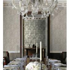Интерьер Roberto Cavalli обои Emiliana Parati ROBERTO CAVALLI артикул 12026;12027 в интрьере столовой комнаты в серо-коричневых тонах
