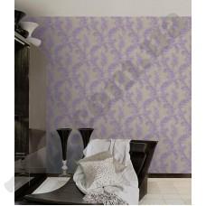 Интерьер Roberto Cavalli обои Emiliana Parati ROBERTO CAVALLI артикул 12034 в интрьере спальной комнаты в фиолетово-серых тонах