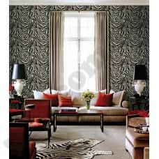 Интерьер Roberto Cavalli обои Emiliana Parati ROBERTO CAVALLI артикул 12046 в интрьере гостиной комнаты в красно-черных тонах