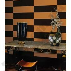 Интерьер Roberto Cavalli обои Emiliana Parati ROBERTO CAVALLI артикул 12052 в интрьере столовой комнаты в черно-бежевых тонах