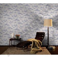 Интерьер Lazy Sunday синий растительный узор на белом фоне