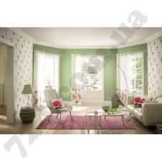 Интерьер Freundin однотонные зеленые обои и с цветами