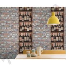 Интерьер Exposed Warehouse 2018 обои под кирпич с изображением деревянных полочек с вином