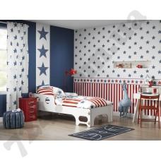 Интерьер Bambino XVII белые обои с синими звездами и красными полосками
