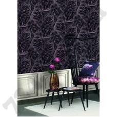 Интерьер Crispy Paper обои с розами в темно-фиолетовом цвете