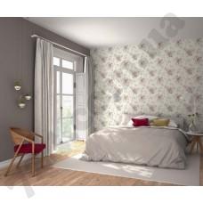 Интерьер Freja светло-розовые цветы на белом фоне