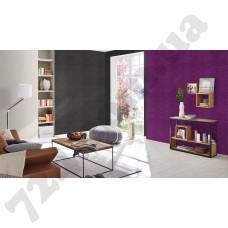 Интерьер Cosmopolitan 2017 Красивый интерьер с фиолетовыми обоями Rasch 575682 и серыми 576177 каталога обоев для стен Cosmopolitan 2017