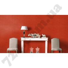 Интерьер Cosmopolitan 2017 Красные обои для стен Rasch 575606 в интерьере гостиной из каталога Cosmopolitan 2017