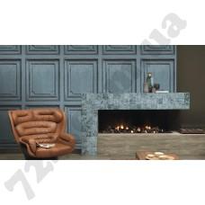 Интерьер Crispy Paper Обои Rasch 524437 Crispy Paper в интерьере гостиной, голубые обои для стен с рисунком на фото