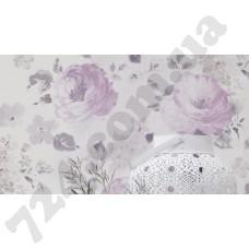 Интерьер Florentine 2017 Фиолетовые обои для стен с цветами 448832 Florentine 2017 Rasch в интерьере
