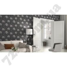Интерьер Freja Черно-белая комбинация обоев 897708 и 897326 Freja Rasch в интерьере зала