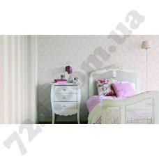 Интерьер Sophie Charlotte Розовые обои для стен Rasch 440508 и 440232 Sophie Сharlotte в интерьере спальни