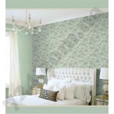 Интерьер Citta Alta III Обои для спальни зеленые с цветами