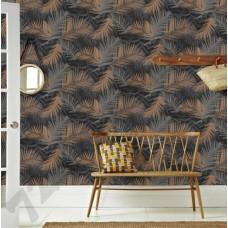 Интерьер Vermeil  Черные обои с листьями пальмы