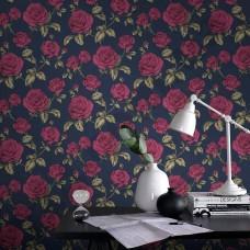 Интерьер Vermeil  Обои с розами темно синие