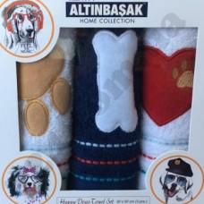 Набор из 3-х полотенец с вышивкой в коробке