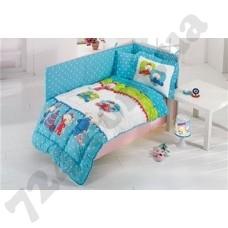 Детское постельное белье Kristal Bebis V05 blue + Одеяло + Бортик + Защита одеяла