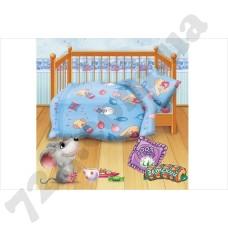 Детское постельное белье Кошки-Мышки Веселые друзья голубой