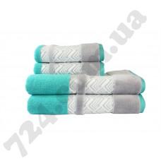 полотенце NAZENDE 50*90 бирюзовый/ серый 560г/м2