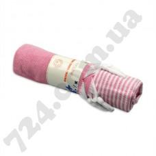 Полотенце хлопковое Полоска с кисточками, 90х185 (розовое)