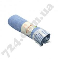 Полотенце хлопковое Полоска с кисточками, 90х185 (тёмно-синее)