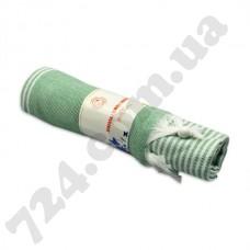 Полотенце хлопковое Полоска с кисточками, 90х185 (зелёное)