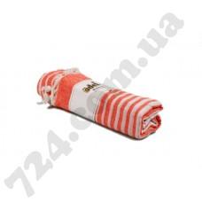 Полотенце хлопковое Полоска с кисточками, 95х170 (персиковое)