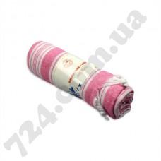 Полотенце хлопковое Полоска с кисточками, 95х170 (розовое)