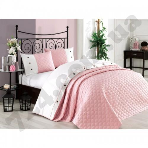 Halley Home Покрывало хлопок с наволочками Halley - Orient 240*260 светло-розовый svk-4608