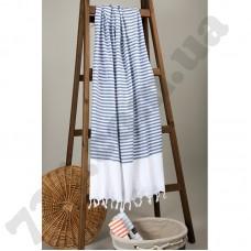 Полотенце Barine Pestemal - White Imbat 90*170 Indigo синее
