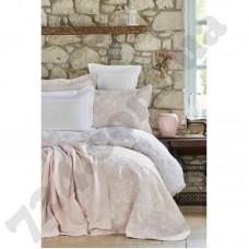 Набор постельное белье с покрывалом + плед Karaca Home - Story New pudra 2018-2 пудра евро