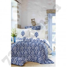Набор постельное белье с покрывалом Karaca Home - Matteo indigo 2018-2 синий евро