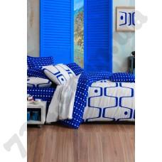 Постельное белье Eponj Home - Geo Mavi голубой ранфорс евро