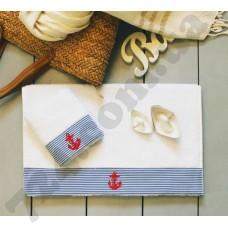 Полотенце махровое Barine - Anchor stripe голубое 50*90