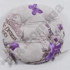 Подушка на стул Lotus круглая O 40 - Ella с завязками лиловый
